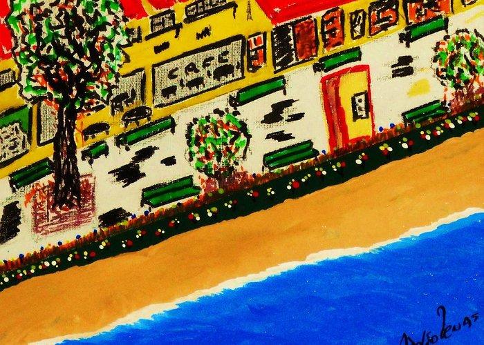 Boardwalk Greeting Card featuring the mixed media Riviera Beach Cafe by Adolfo hector Penas alvarado