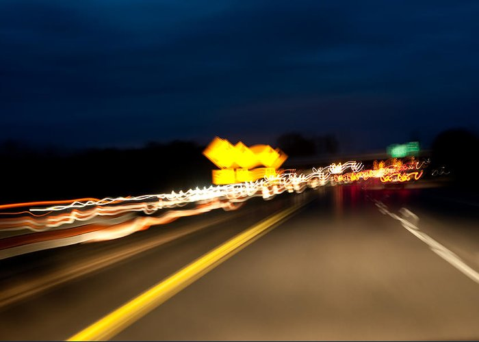 Freeway Greeting Card featuring the photograph Road At Night 1 by Steven Dunn