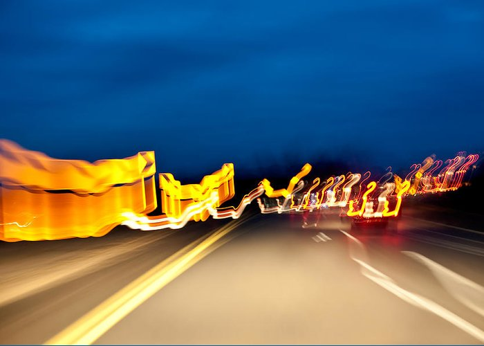 Freeway Greeting Card featuring the photograph Road At Night 2 by Steven Dunn