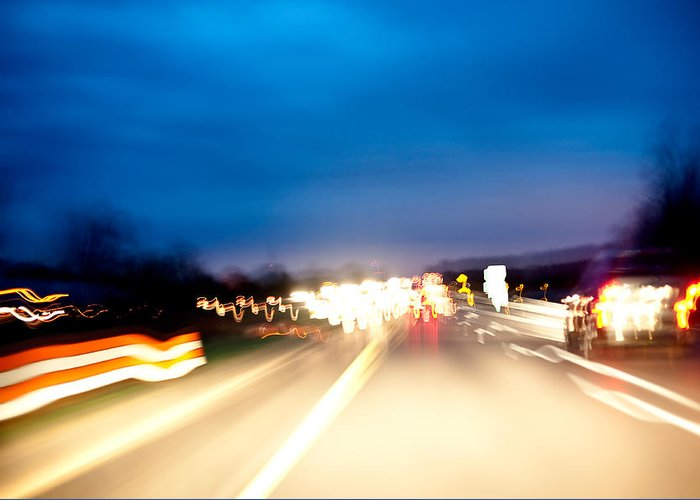 Freeway Greeting Card featuring the photograph Road At Night 5 by Steven Dunn