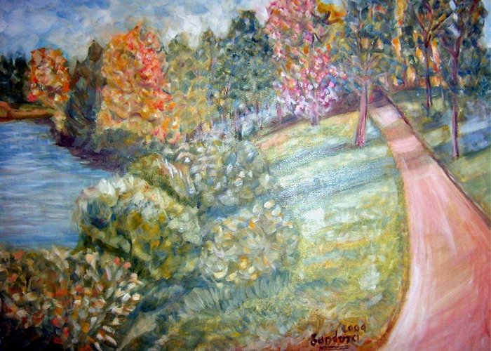 Landscape River Fall Road Greeting Card featuring the painting Road By The River by Joseph Sandora Jr