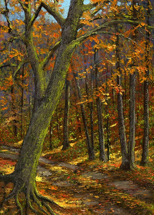 Landscape Greeting Card featuring the painting Road In The Woods by Frank Wilson