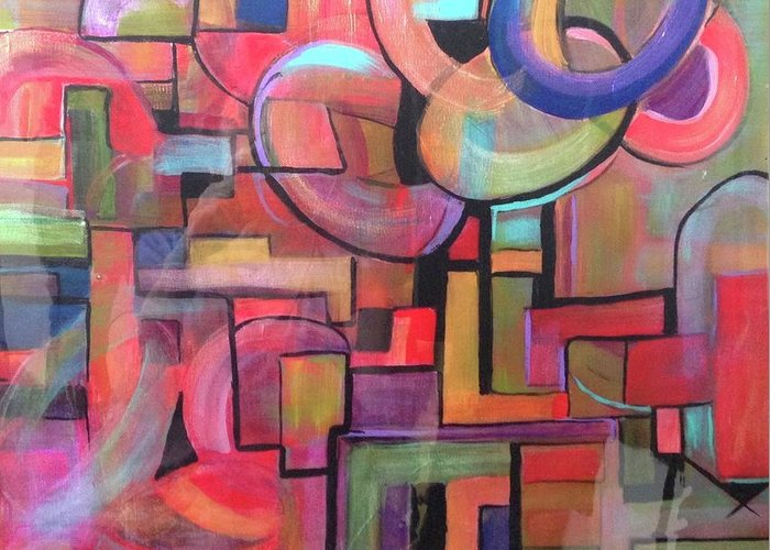 Abstract Greeting Card featuring the painting Road Map by Kathy Othon