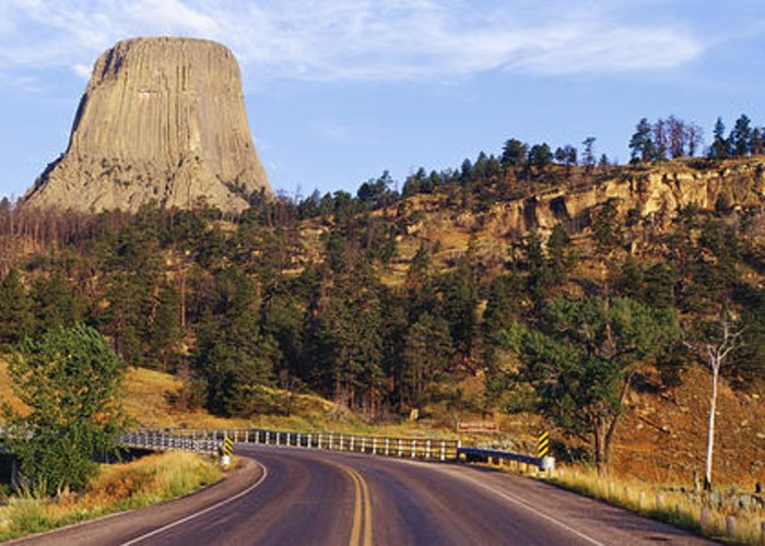 Belle Fourche River Greeting Card featuring the photograph Road To Devils Tower Crossing Belle Fourche River by Jeremy Woodhouse