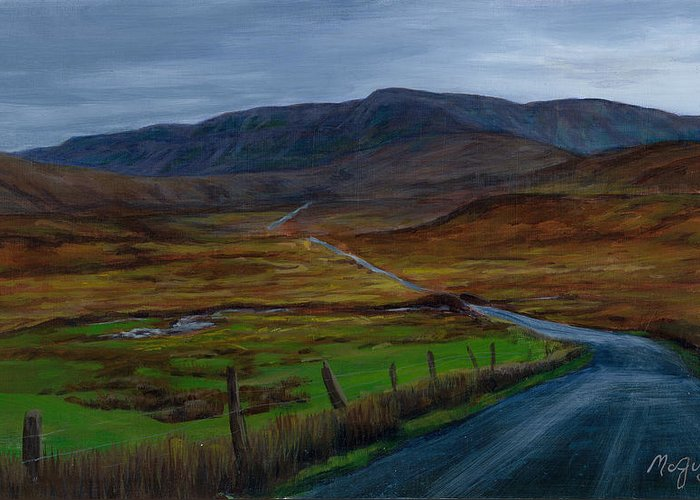 Landscape Greeting Card featuring the painting Road To Glenveagh by Laurie McGinley