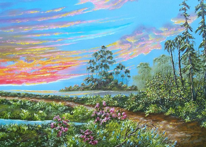 Landscape Greeting Card featuring the painting Road To Happiness by Dennis Vebert