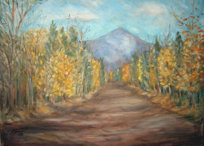 Landscape With Mountain Fall Trees Greeting Card featuring the painting Road To Mountain by Joseph Sandora Jr
