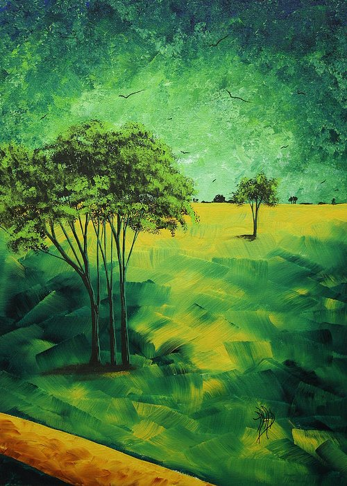 Contemporary Greeting Card featuring the painting Road To Nowhere 1 By Madart by Megan Duncanson