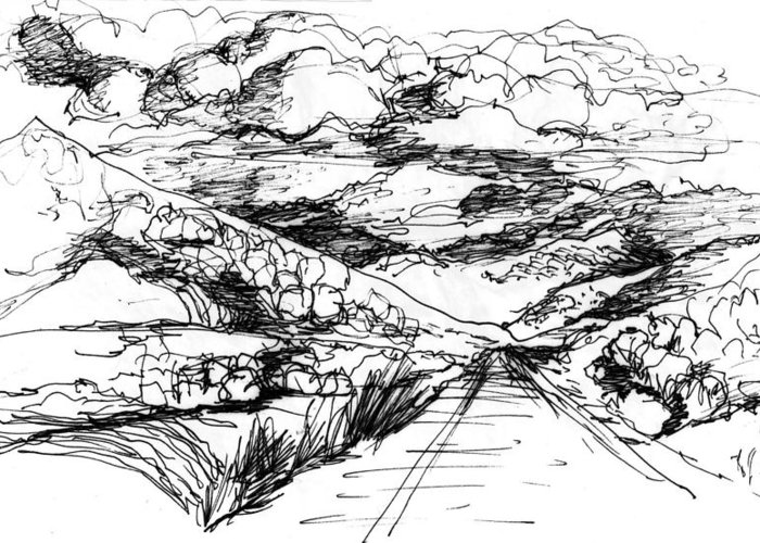 Greeting Card featuring the drawing Road To Palmdale 1 by Lily Hymen