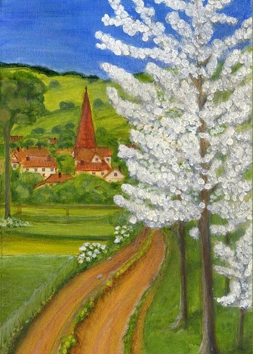 Folkartanna Greeting Card featuring the painting Road To Schollkrippen by Anna Folkartanna Maciejewska-Dyba