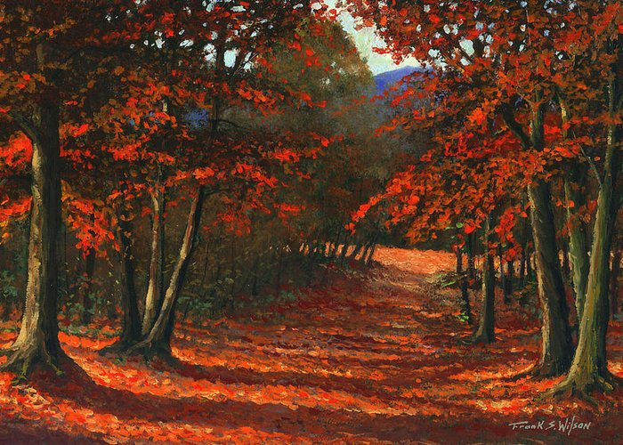 Landscape Greeting Card featuring the painting Road To The Clearing by Frank Wilson