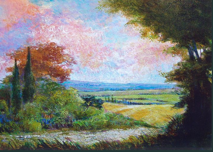 Landscape Greeting Card featuring the painting Road To The Fields by Dale Witherow