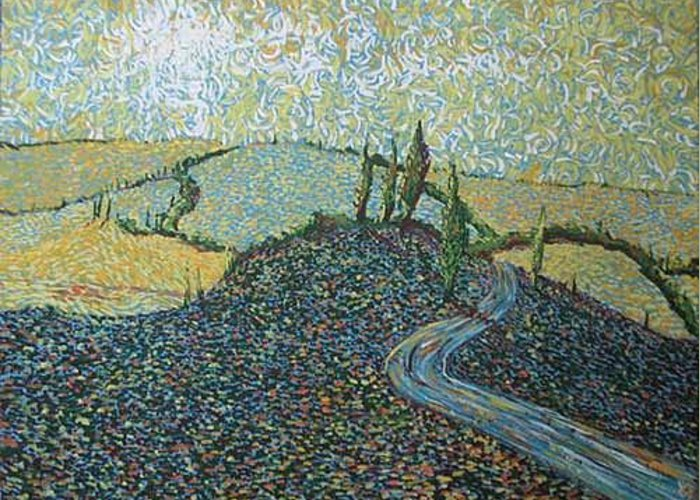 Landscape Greeting Card featuring the painting Road To Tuscany by Stefan Duncan