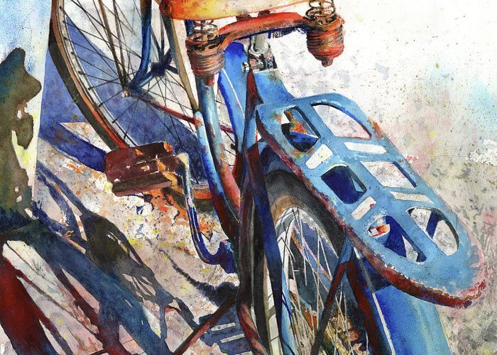 Bicycle Greeting Card featuring the painting Roadmaster by Andrew King