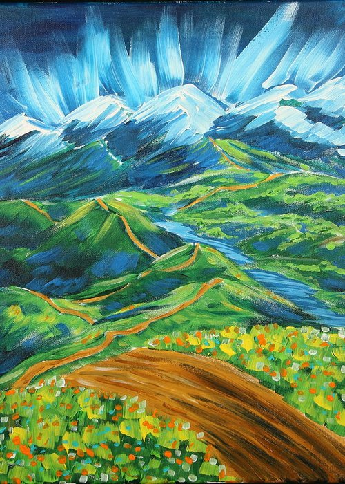 Flowers Greeting Card featuring the painting Roads In The Wilderness by Gary Rowell