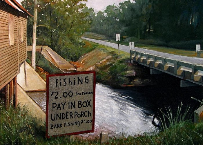 Doug Strickland Greeting Card featuring the painting Roadside Fishing Spot by Doug Strickland