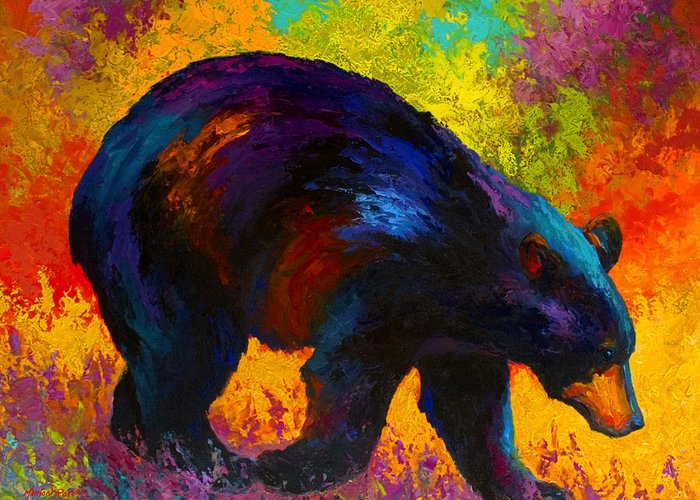 Bear Greeting Card featuring the painting Roaming - Black Bear by Marion Rose