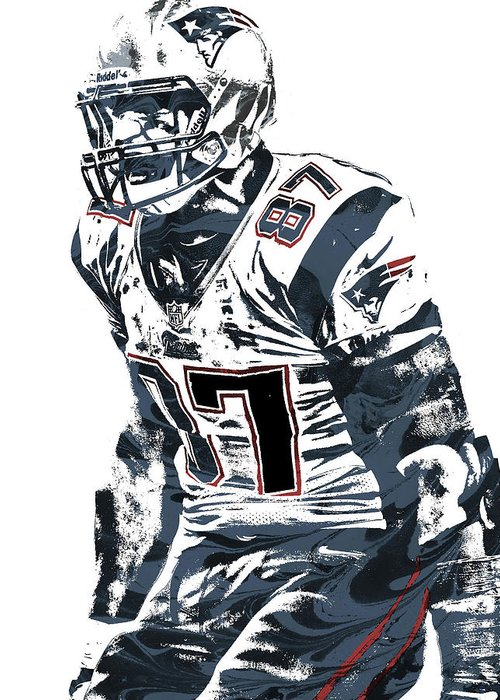 Rob Gronkowski Greeting Card featuring the mixed media Rob Gronkowski New England Patriots Pixel Art 4 by Joe Hamilton