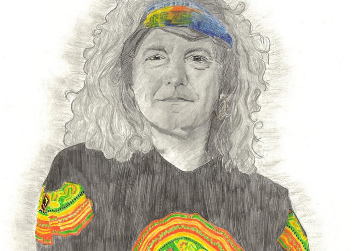 Robert Plant Greeting Card featuring the drawing Robert Plant by Bari Titen