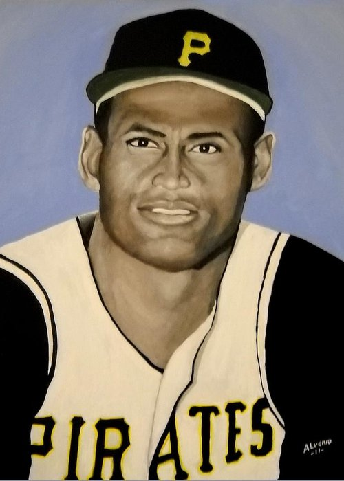 Roberto Greeting Card featuring the painting Roberto Clemente by Edwin Alverio