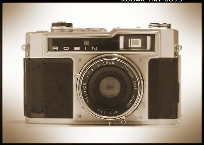 Vintage Robin Greeting Card featuring the photograph Robin 35mm Rangefinder Camera by Mike McGlothlen