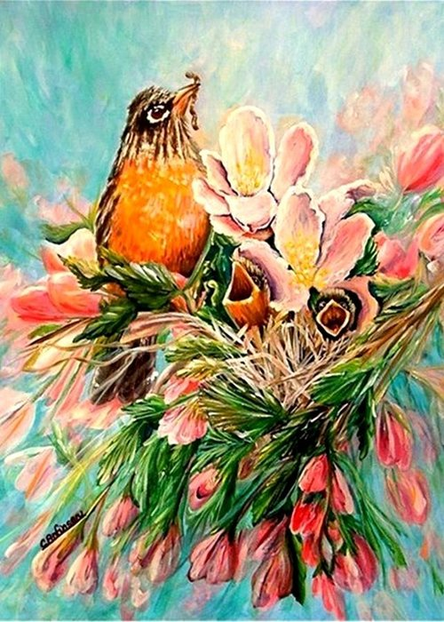 Robins Greeting Card featuring the painting Robin Hood by Carol Allen Anfinsen