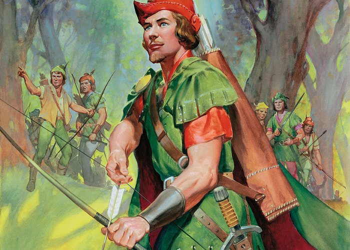 Robin Greeting Card featuring the painting Robin Hood by James Edwin McConnell