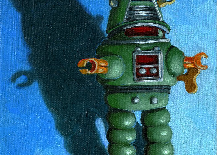 Painting Greeting Card featuring the painting Robot Dream - Realism Still Life Painting by Linda Apple