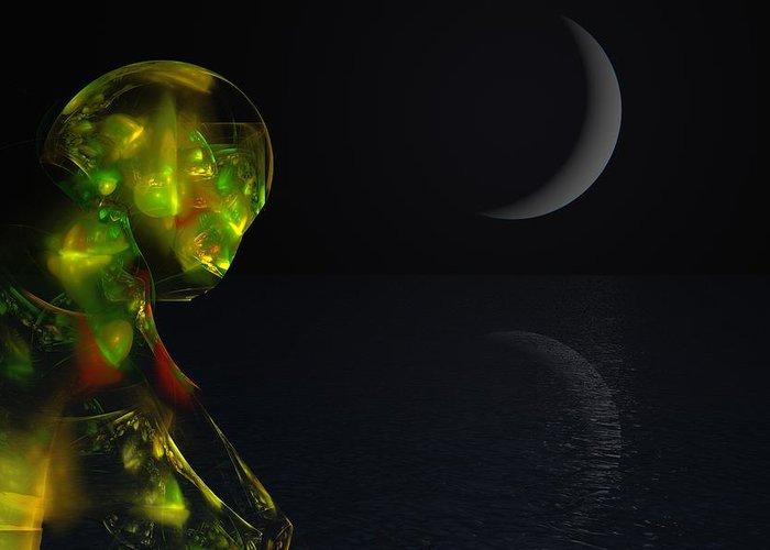 Abstract Digital Painting Greeting Card featuring the digital art Robot Moonlight Serenade by David Lane