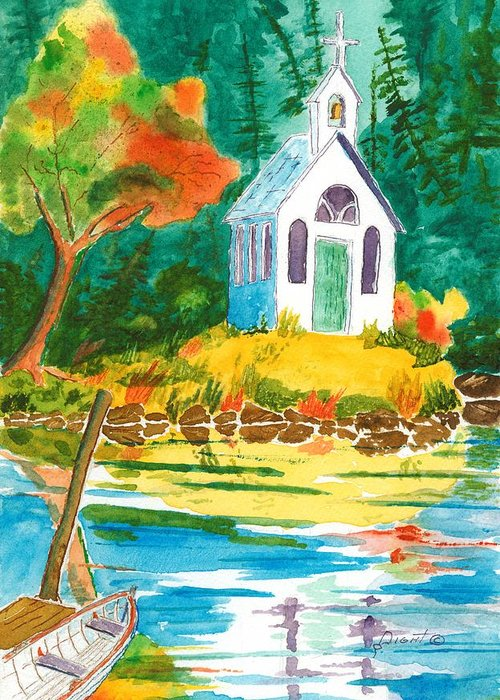 Chapel Greeting Card featuring the painting Roche Harbor Chapel by Buster Dight