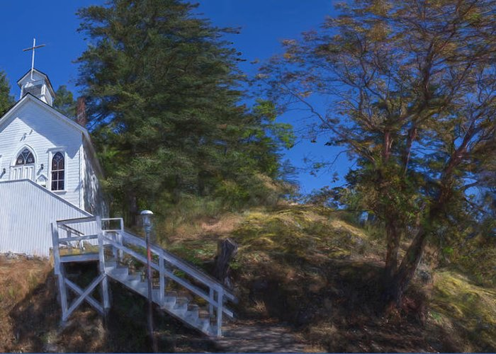 San Juan Island Greeting Card featuring the painting Roche Harbor Chapel In San Juan Island by Miary Andria