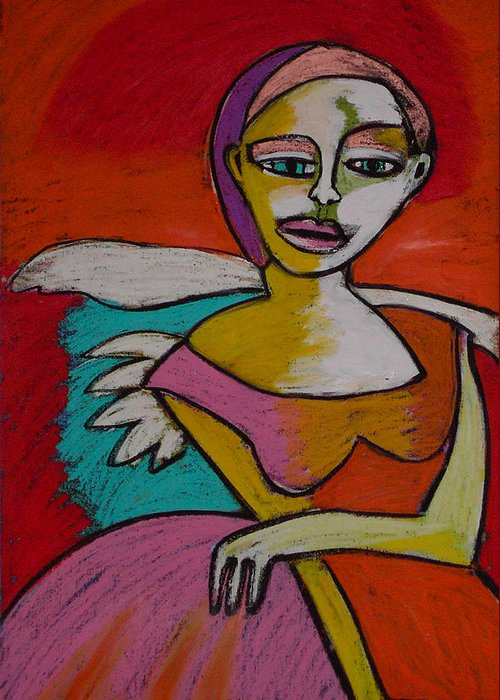 Figurative Greeting Card featuring the painting Rock And Roll Angel by Angelina Marino