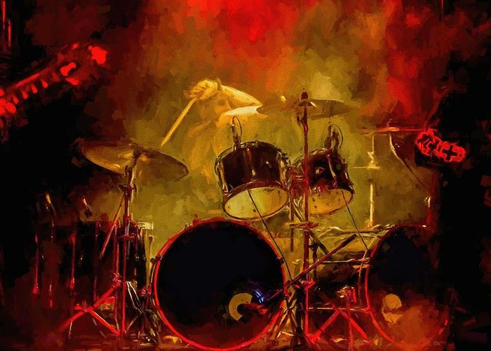 Rock And Roll Drum Solo # Rock And Roll # Drum Set # Rock And Roll Drum Paintings # Abstract Music Art # Zildjian # Drum Solo Painting # Concert # Smoke # Fog # Greeting Card featuring the digital art Rock And Roll Drum Solo by Louis Ferreira