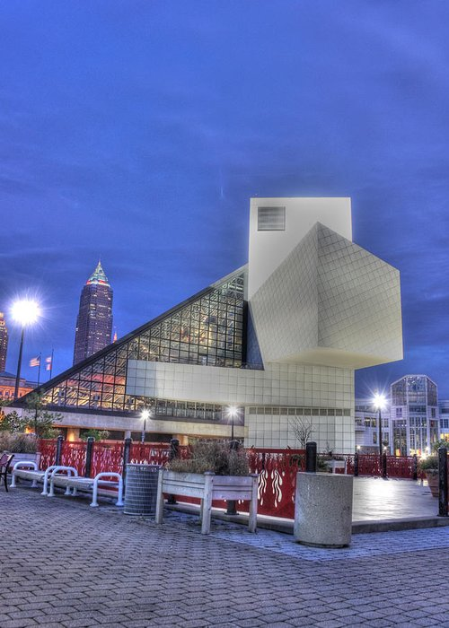 Rock And Roll Hall Of Fame Greeting Card featuring the photograph Rock And Rolling by David Bearden