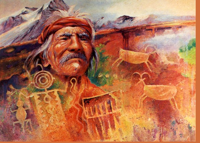 Indian Greeting Card featuring the painting Rock Art by Don Trout