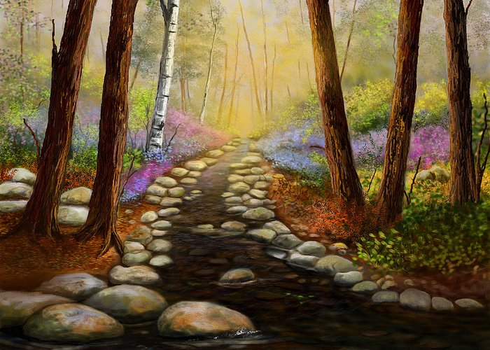 Landscapes Greeting Card featuring the painting Rock Bottom Creek by Sena Wilson