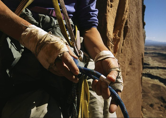 Model Released Photography Greeting Card featuring the photograph Rock Climber Becky Halls Wrapped Hands by Bill Hatcher