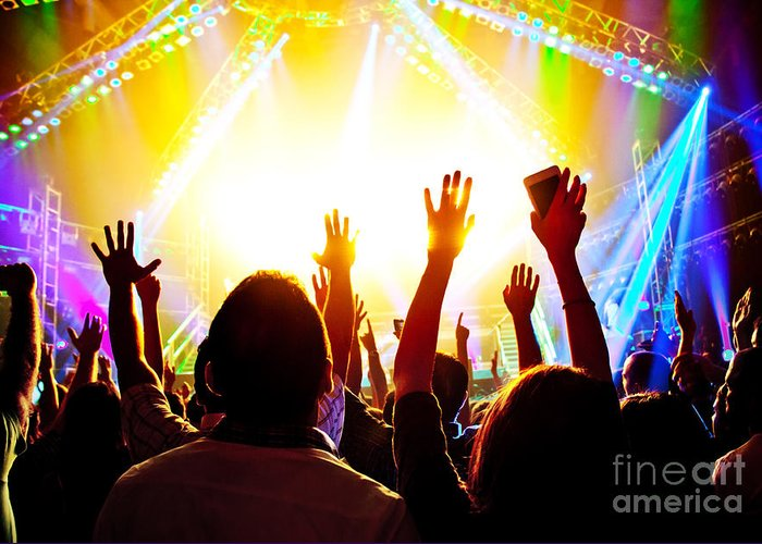 Active Greeting Card featuring the photograph Rock Concert by Anna Om
