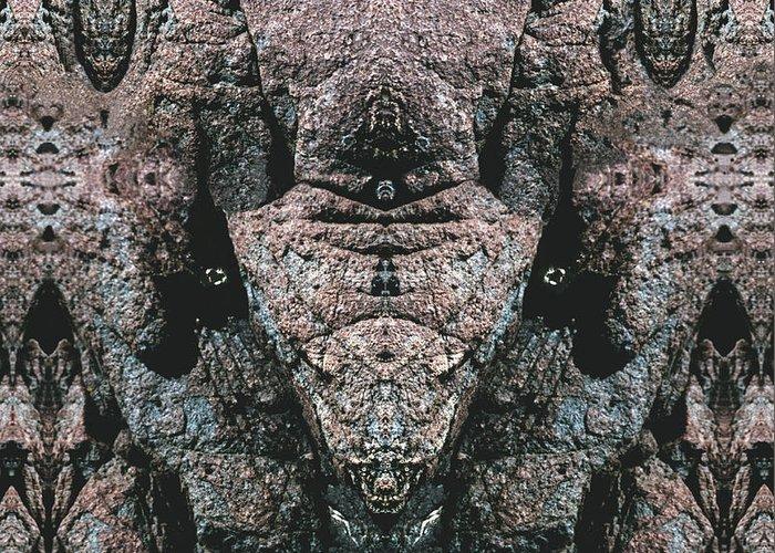 Rocks Greeting Card featuring the digital art Rock Gods Elephant Stonemen Of Ogunquit by Nancy Griswold
