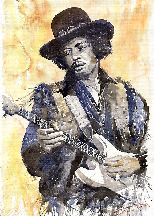 Watercolour Greeting Card featuring the painting Rock Jimi Hendrix 01 by Yuriy Shevchuk