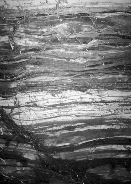 Rock Greeting Card featuring the photograph Rock Lines B W by Rob Hans