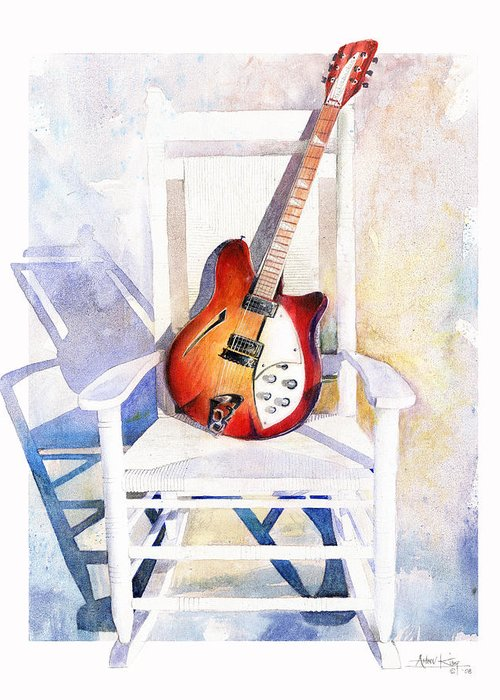 Guitar Greeting Card featuring the painting Rock On by Andrew King