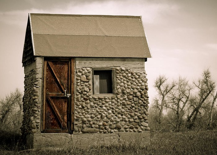 Americana Greeting Card featuring the photograph Rock Shed 2 by Marilyn Hunt