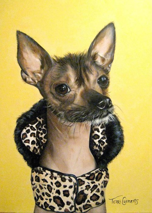 Animals Greeting Card featuring the painting Rock Star by Terri Clements