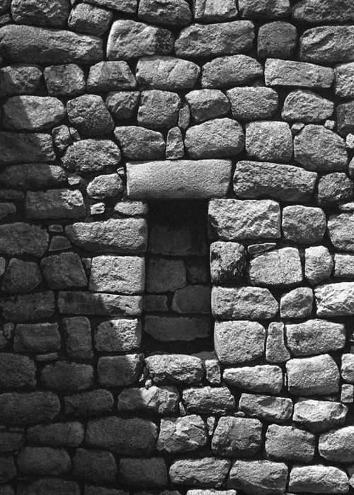Machu Picchu Greeting Card featuring the photograph Rock Window Shadow by Marcus Best