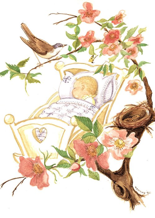 Baby Greeting Card featuring the painting Rockabye by Yvonne Ayoub