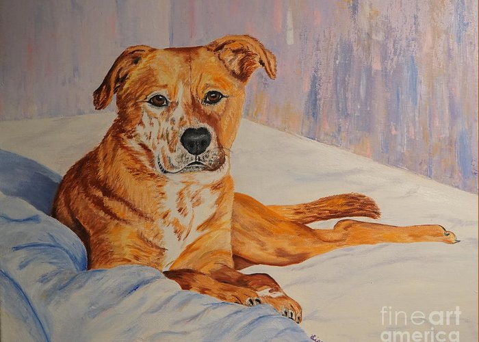 Dog Greeting Card featuring the painting Rockaroni by Lisa Rose Musselwhite