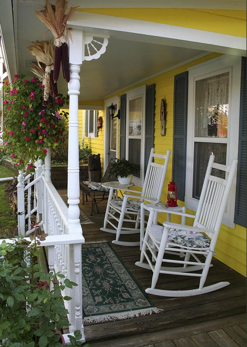 Rocking Chair Greeting Card featuring the photograph Rockers On The Porch by Margie Wildblood