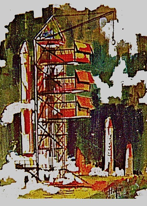 Cape Canaveral Kennedy Spce Center Rockets Mars Greeting Card featuring the painting Rockets To Mars by Frank Hunter