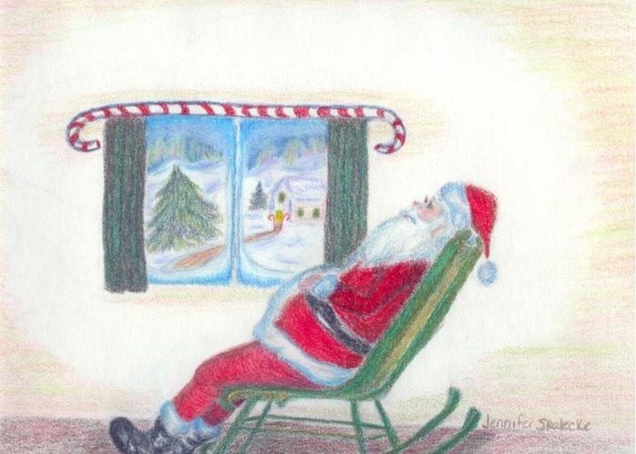 Santa Claus Greeting Card featuring the drawing Rockin Santa by Jennifer Skalecke